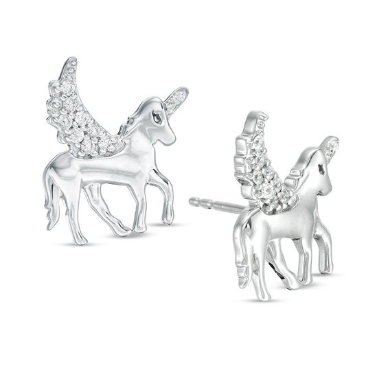 1 10 Ct  T W  Diamond Winged Unicorn Stud Earrings In Sterling