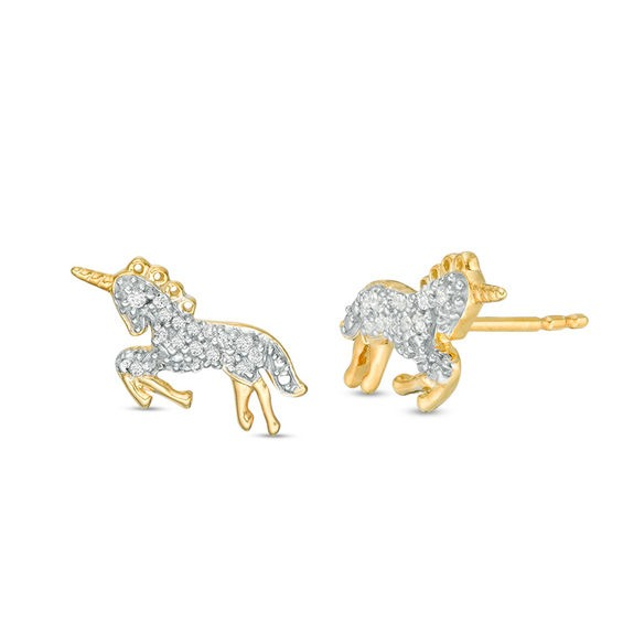 1 10 Ct  Tw Bowing Unicorn Stud Earrings In Sterling Silver And