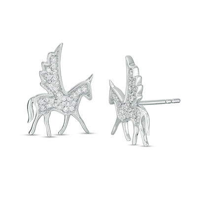 1 8 Ct  T W  Diamond Winged Bucking Unicorn Stud Earrings In