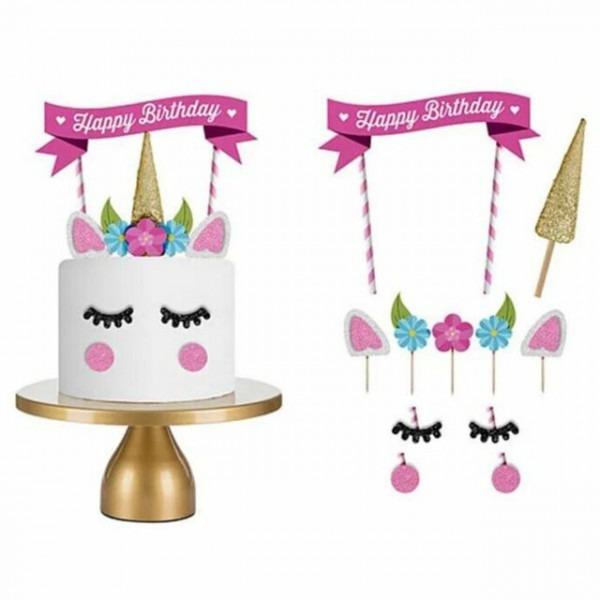 1set Diy Unicorn Cake Topper Happy Birthday Candle Party Supply