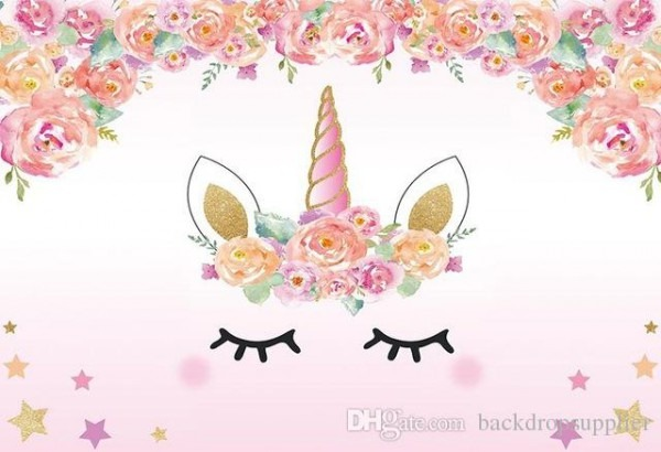 2019 7x5ft Light Pink Floral Flowers Unicorn Face Mask Eyes Stars
