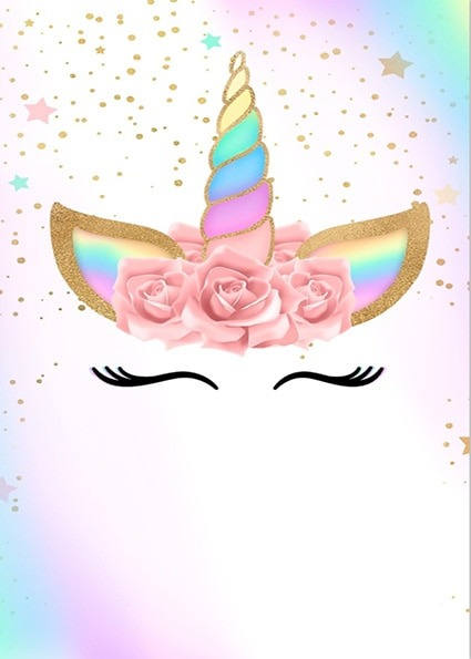 5x7ft Gold Spots Rainbow Sky Unicorn Face Mask Flowers Baby Shower