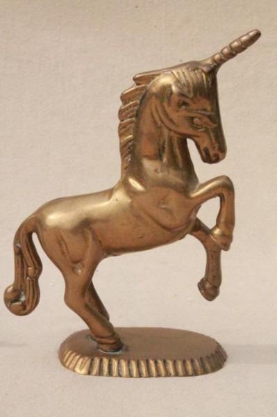 80s Vintage Brass Animals, Large & Small Unicorn Figurines