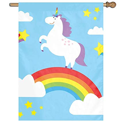 Amazon Com   Dominic Philemon Classic Rainbow Unicorn Garden Flag