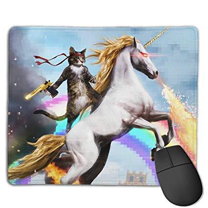 Amazon Com   Teesofun Unique Mouse Pad Rainbow Unicorn Cat Knight