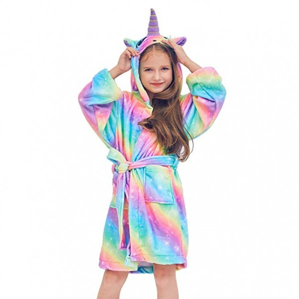 Amazon Com  Beinou Unicorn Kids Robe Fleece Bathrobe Flannel