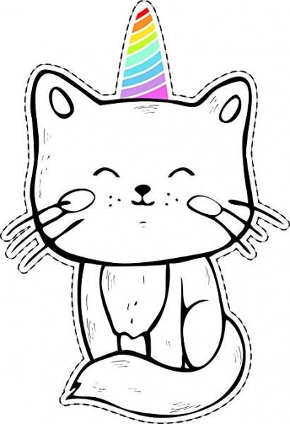 Amazon Com  Cute Sweet Happy Kitty Cat Rainbow Unicorn Horn