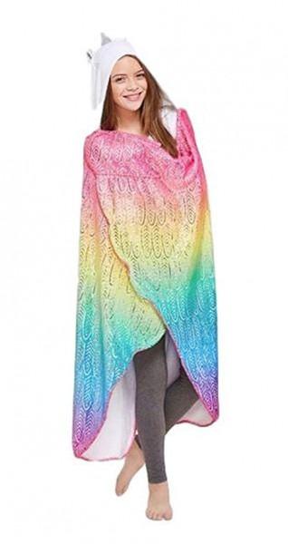 Amazon Com  Justice Unicorn Hooded Blanket For Girls Rainbow