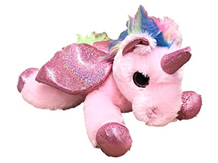 Amazon Com  Plush Laying Unicorn With Rainbow Hair And Glitter