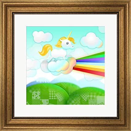 Amazon Com  Rainbow Guide Unicorn Framed Art Print Wall Picture