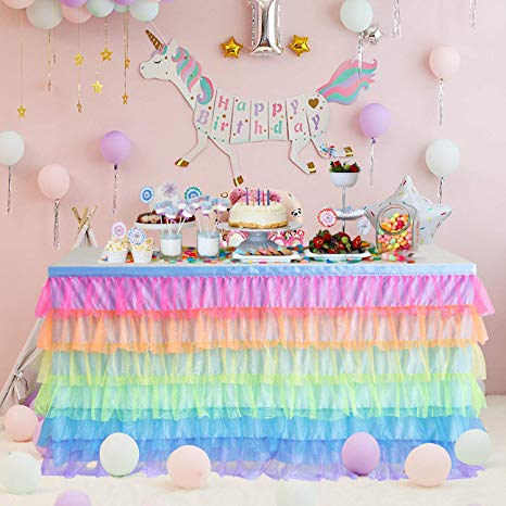 Amazon Com  Rainbow Tulle Table Skirt 6ft Tutu Unicorn Table Cloth
