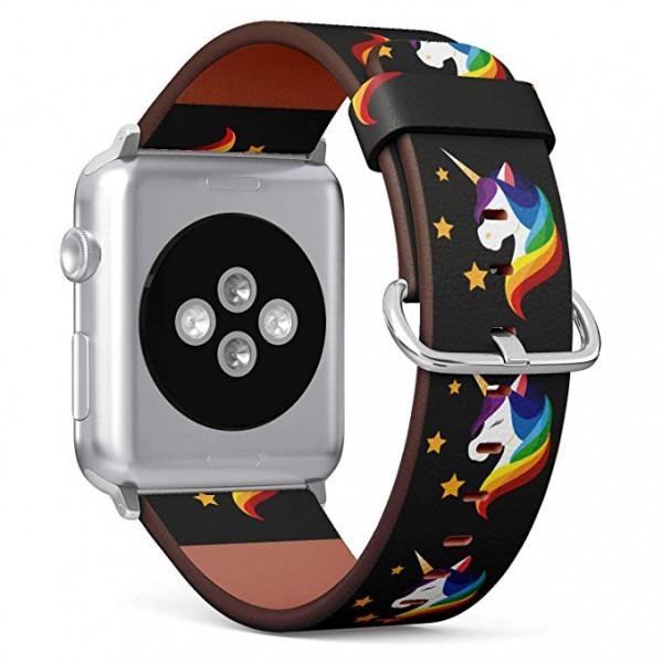 Amazon Com  (rainbow Unicorn) Patterned Leather Wristband Strap