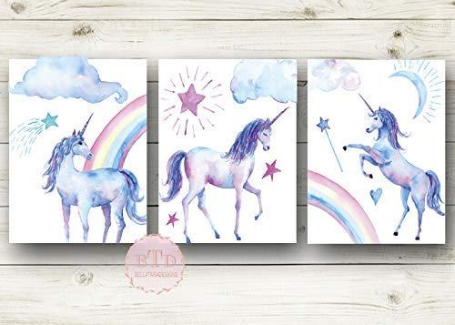 Amazon Com  Set Of 3 Unicorn Prints Watercolor Rainbows And