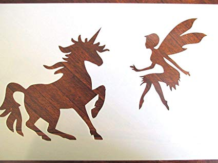 Amazon Com  Stencil Reusable Unicorn And Fairy 10 Mil Mylar Laser