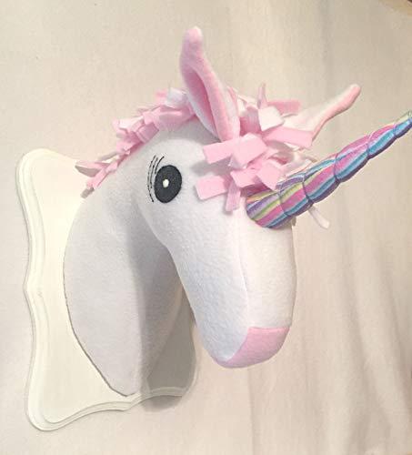 Amazon Com  Stuffed Unicorn Head White And Pink Unicorn Stuffed