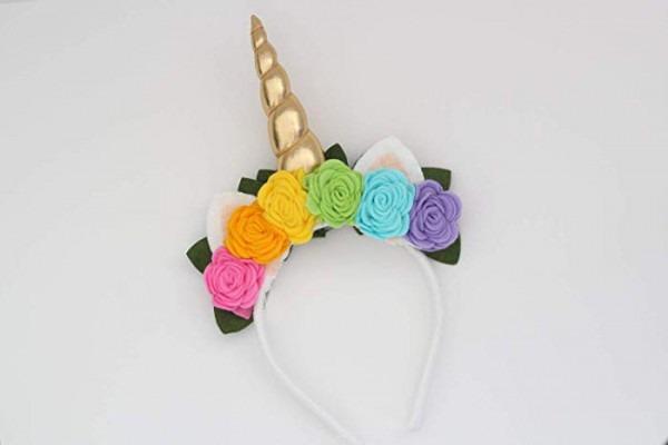 Amazon Com  Unicorn Horn Headband With Multi Colored Felt Roses