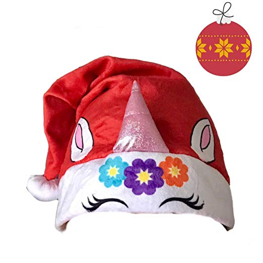 Amazon Com  Unicorn Winter Santa Hat And Red Stocking