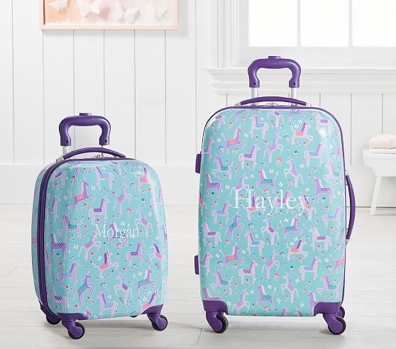 Aqua & Purple Unicorn Hard Sided Spinner Kids Luggage