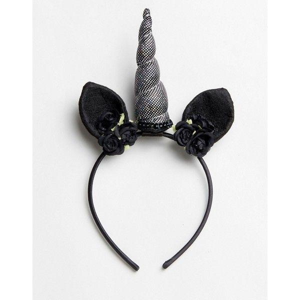 Asos Halloween Dark Unicorn Headband ($7 85) ❤ Liked On Polyvore