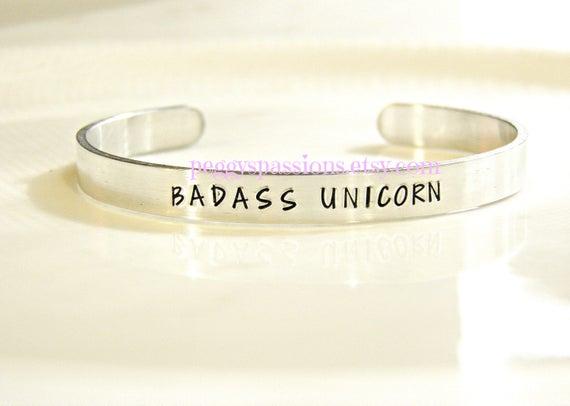 Badass Unicorn Hand Stamped Cuff Bracelet