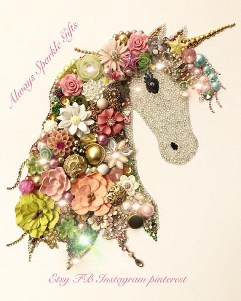 Beautiful Super Sparkly Vintage Style Coloured Unicorn Button Art