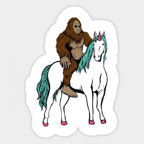Bigfoot Riding A Unicorn Sasquatch