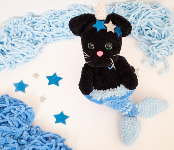 Black Cat Unicorn Mermaid Toy Plush Crochet Amigurumi