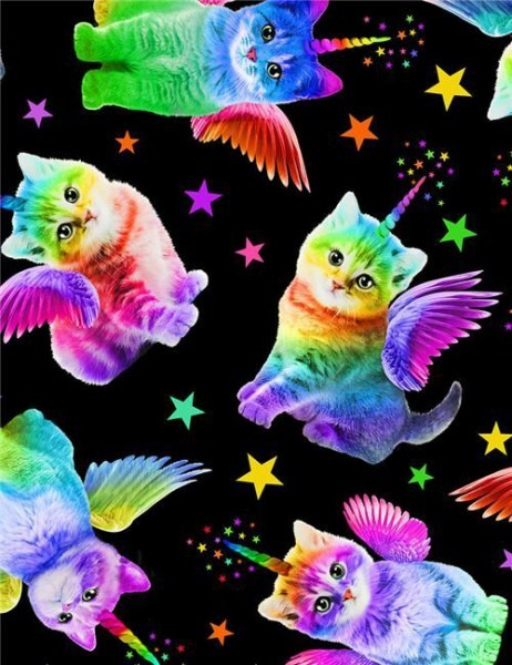 Black Fabric With Rainbow Unicorn Cats By Timeless Treasures