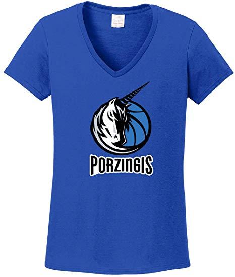 Blue Dallas Porzingis Unicorn Logo Ladies V