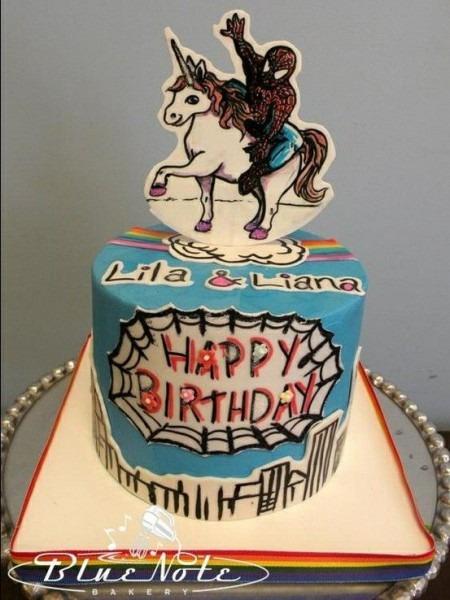Bluenotebakery  Spiderman  Unicorn  Cake  Funny  Birthday  Kids