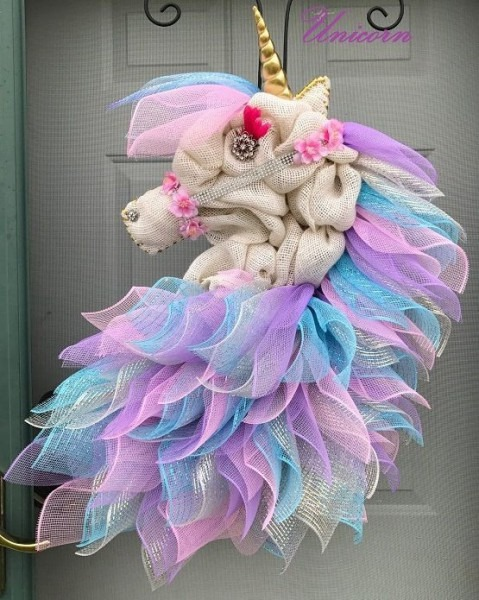 Burlap Unicorn Wreath Christmas Unicorn Decoration Ideas