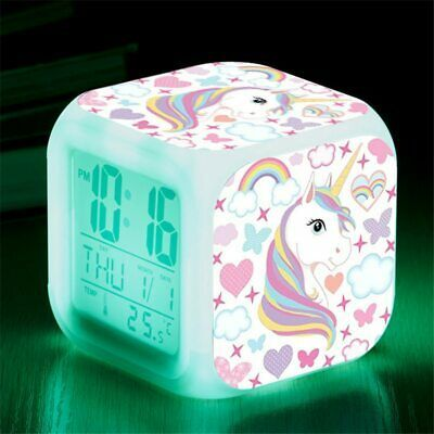 Cartoon Unicorn Alarm Clock Led Digital Alarm Clocks Child Kids