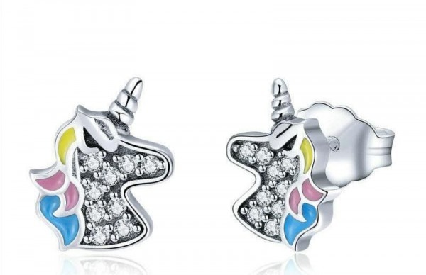 Colorful Diamond Unicorn Earrings
