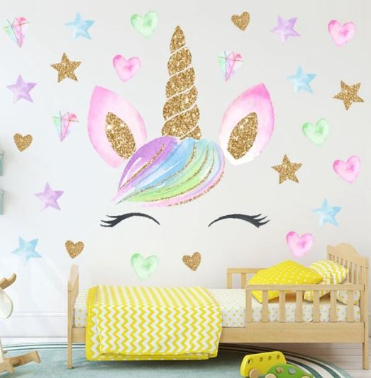 Colorful Flower Animal Unicorn Wall Sticker 3d Art Decal Sticker