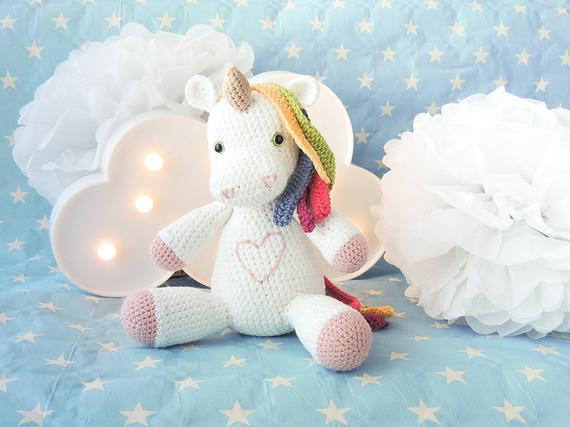 Crochet Unicorn Soft Toy White Plush Unicorn Rainbow Hair