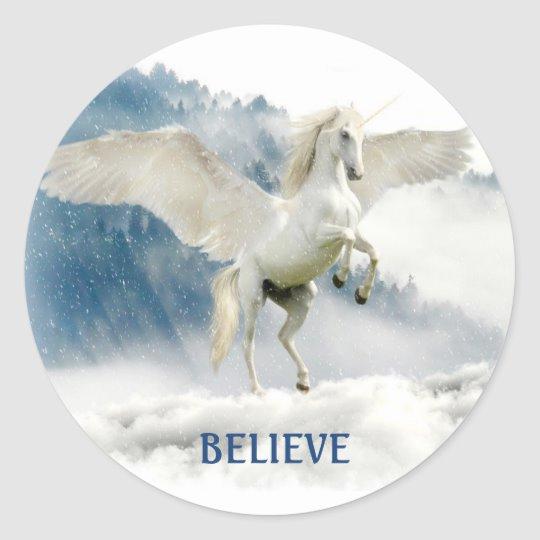 Custom Name Pegasus Flying Unicorn Clouds Sticker