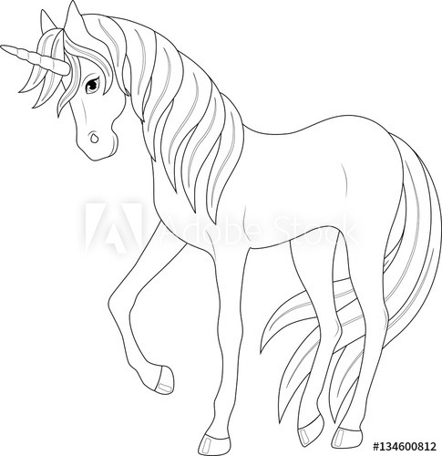 Cute Fairy Unicorn, Coloring Page