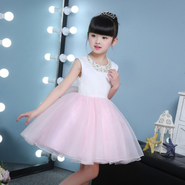 Cute Puffy Pink Tulle Girl Wedding Dresses Sequin Ball Gown First
