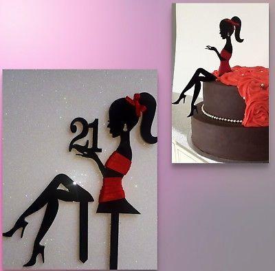 Elegant Lady Any Age Silhouette Girl, Woman,fairy,acrylic Cake
