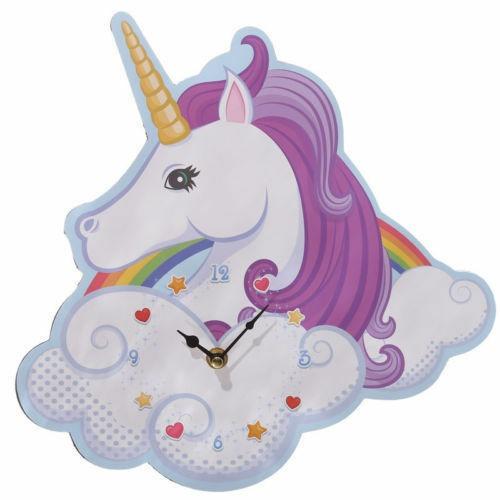 Enchanted Rainbow Cloud Unicorn Shaped Wall Clock Girls Bedroom