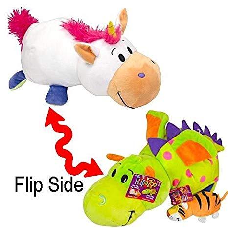 Flip A Zoo 16  Unicorn To Dragon Plush Flipazoo With 5  Bonus