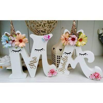 Floral Sleepy Unicorn Girls Freestanding Wooden 15cm Any Letter