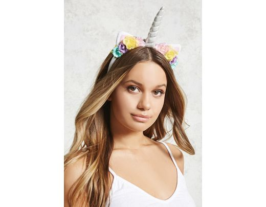 Forever 21 Unicorn Floral Headband , White Multi In White