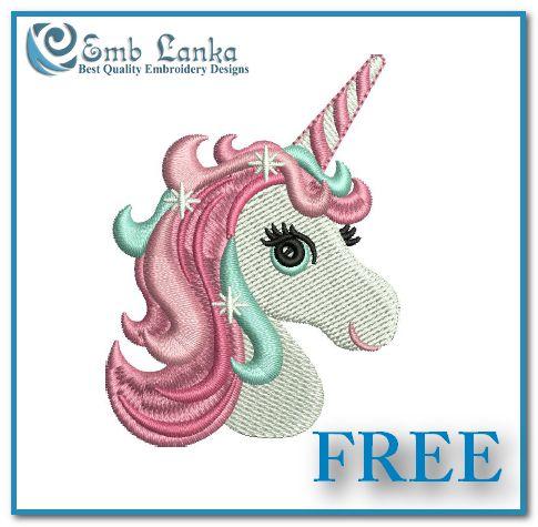 Free Cute Unicorn Head Embroidery Design