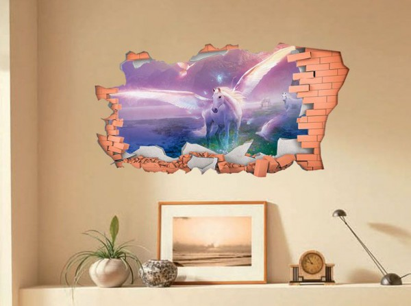 Full Colour Unicorn Smashed Wall 3d Sticker Decal Wall Art Transfer