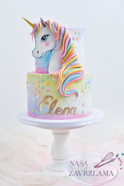 Girls Birthday Cake With 2d Hand Painted Unicorn Head  In 2019