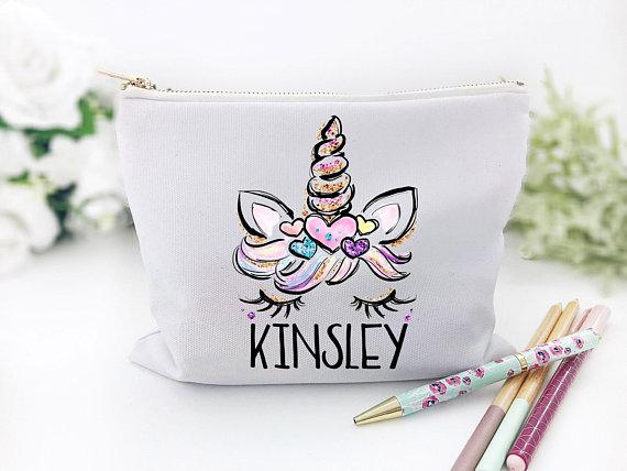 Girl's Personalized Unicorn School Supplies Bag