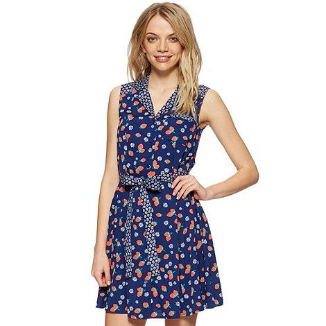 H! By Henry Holland Designer Navy Strawberry And Daisy Shirt Dress