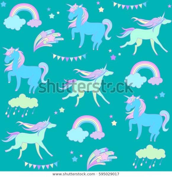Handdrawn Seamless Pattern Rainbow Unicorn Cloud Stock Vector