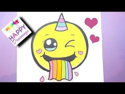 How To Draw A Cute Emoji Unicorn Puking Rainbow Easy